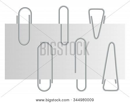 Paper Clip. Business Office Note Attach. Metal Paperclip Element For Paperwork. School Education Not