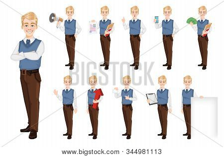 Successful Business Man In Office Style Clothes, Set Of Eleven Poses. Handsome Blonde Businessman. C