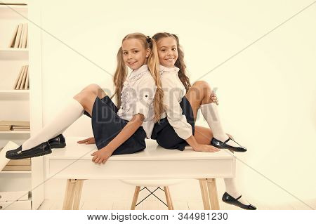 September 1 The First Day Of School Year. Adorable Schoolchildren On September 1 Isolated On White.
