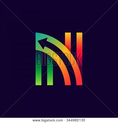 Letter N Logo With Arrow Inside. Vector Bright Colours Typeface For Delivery Labels, Business Headli