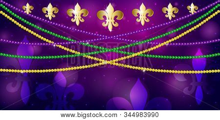 Horizontal Pattern Beautiful Yellow, Green, Purple Beads On A Dark Night Background With Flashes Of