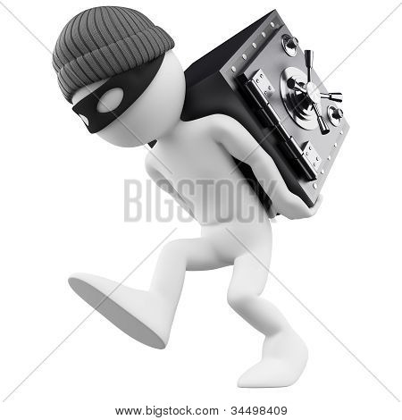 3D White People. Bank Robber