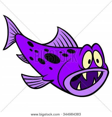 Crazy Fish - A Cartoon Illustration Of A Fun Crazy Fish.