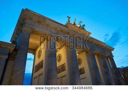 The Brandenburg Gate In Berlin In The Blue Hour