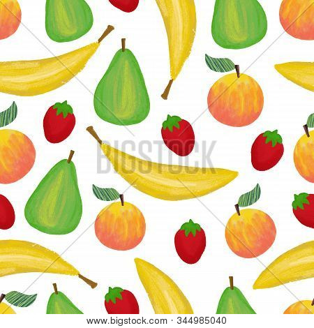 Banana Strawberry Apple Pear Peach Seamless Pattern Design. Fruit Mix Repeating Background. Hand Pai