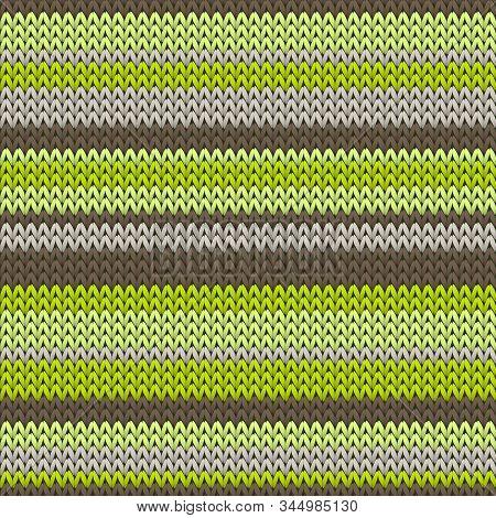 Chunky Horizontal Stripes Knitting Texture Geometric Seamless Pattern. Rug Knit Effect Ornament. Tra