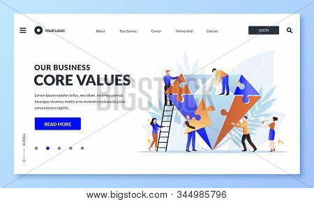 Business Core Value And Company Corporate Mission Concept. Vector Flat Cartoon Illustration For Web