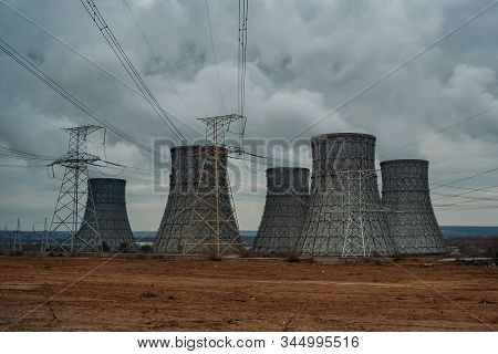 Cooling Tower Of Nuclear Power Plant And Power Lines