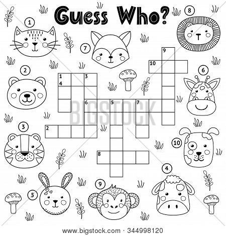 Guess Who Black And White Crossword For Kids