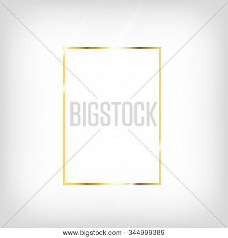 Rich Gold Christmas Or Wedding Frame. Gradient Copper Metal Foil. Premium Geometric Platinum Design.