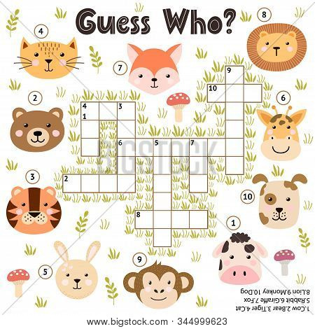 Crossword Game For Kids. Guess Who Activity With Funny Animals. Educational Puzzle