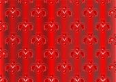Red satin striped background decorated with oriental ornaments poster