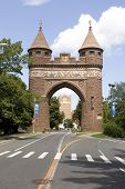 The brownstone Soldiers and Sailors Memorial Arch found in Hartford Connecticut - the capital city. This was dedicated to the lives lost during the Civil War. poster