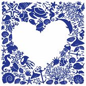 White Background Heart Is Surrounded Of Fishes, Dolphins, Shells, Corals, Meduses, Seahorses poster