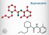 Bupivacaine molecule, is an amide-type, long-acting local anesthetic. Structural chemical formula and molecule model. Sheet of paper in a cage poster