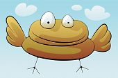 Fat self confident yellow Bird in the blue sky with puffy white clouds is flying at you. poster