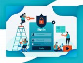 website login template for protecting user account security, secure and protection for privacy and firewall encryption for user safety, password and username. vector design flyer poster mobile apps poster