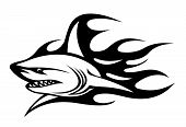 Angry shark with black flames for tattoo design poster
