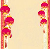 Chinese New Year with lanterns card , vector illustration poster