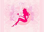 floral background with a beautiful fairy , vector illustration poster