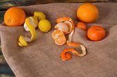Set of citric fruits. Juicy oranges, divided mandarine and lemons. Canvas litter. poster