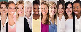 Happy Multi Ethnic Women Collage. Diverse Group Of Women Portraits