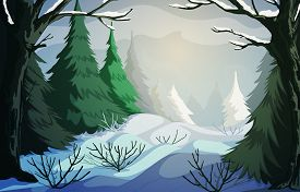 Winter Landscape With Snowy Hills, Bushes, Trees And Firs. Vector Illustration
