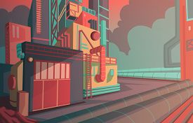 Industrial Landscape With Modern Factory Building And Warehouse. Industry Zone With Sunrise And Clou