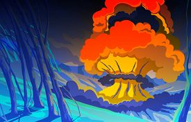 Nuclear Explosion In The Mountain Landscape. Blast Wave. Huge Volumes Of Smoke And Sparks Of Fire. C