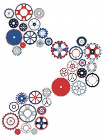 Gear Mechanism. Isolated Objects On White Background. Vector Illustration