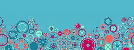 Seamless Border With Collection Of Gears. Colorful Mechanical Background. Vector Illustration