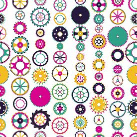 Seamless Pattern With Collection Of Gears. Colorful Mechanical Background. Vector Illustration