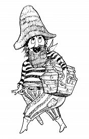 Pirate With Treasure Chest. Funny Cartoon Character. Vector Illustration