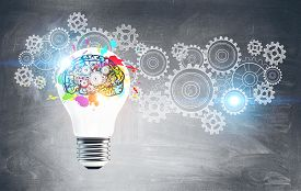 Bright Lightbulb With Brain And Gears Drawn On Blackboard. Concept Of Creative Thinking, Bright Idea