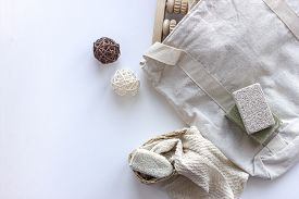 Natural Body Care. Zero Waste Concept. Natural Soap, Pumice, Massage Roller, Cotton Washcloth. Copys