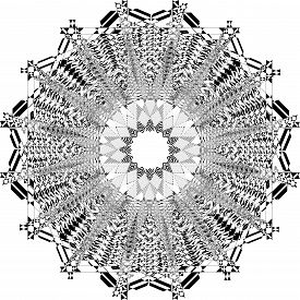 Abstract Arabesque Double Octogon Structurated Church Ceiling Black On Transparent Background Design