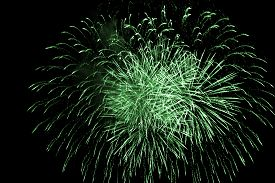 Luxury Fireworks Sky Show Event With Green Big Bang Stars. Premium Entertainment Magic Star Firework