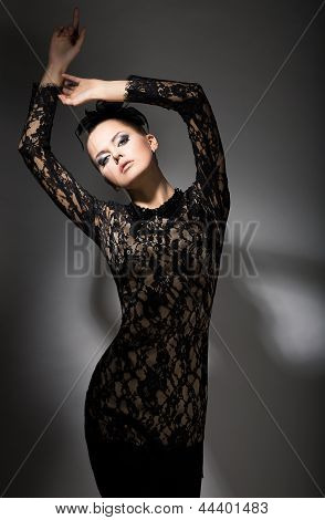 Gracefulness. Enticing Classy Woman In Black Dress In Reverie. Felicity