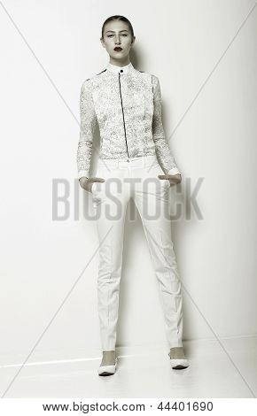 Trend. New Summer Apparel Collection. Woman Wearing White Clothing. Series Of Photos