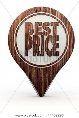 best price sign on a set of wooden  markers
