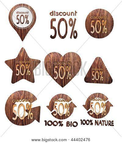 discount symbol set of wooden 3d buttons