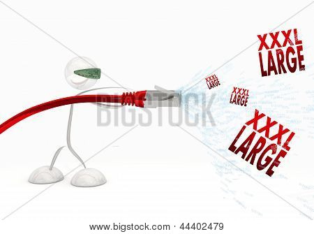 Red  futuristic connection 3d graphic with x-large XL symbol coming from data cable poster
