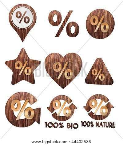 3d render of a natural percent symbol set of wooden 3d buttons