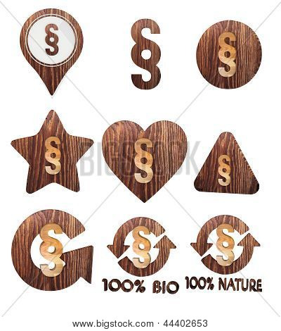 3d render of a natural law icon set of wooden 3d buttons