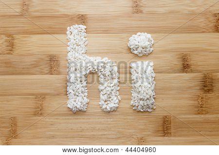 Rice On Bamboo Background