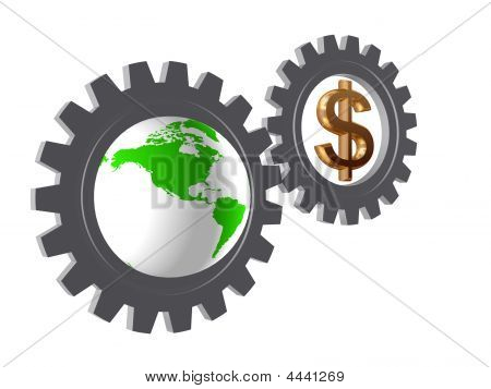 Gear-wheels With World Globe And Dollar