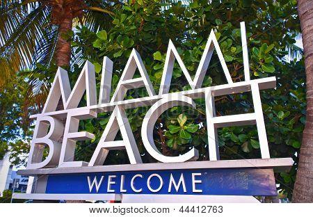 Stadt Miami Beach Florida Willkommensschild