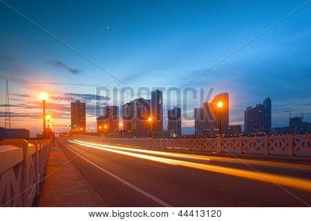 Stadt von Miami Florida farbenfrohen Sonnenuntergang Panorama der Innenstadt