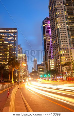 City of Miami Florida traffic moving through downtown