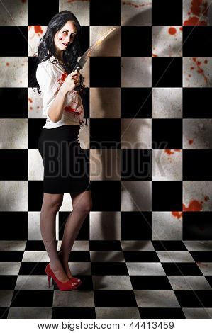 Evil Malicious Zombie Girl With Bloody Pruning Saw